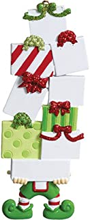 Personalized Elf Packages Christmas Tree Ornament 2019 - North Pole Helper Cute Green Uniform Shopping Bags Present Gifts Hobby Born Shop Fashion Shopaholic Year - Free Customization (Elf)
