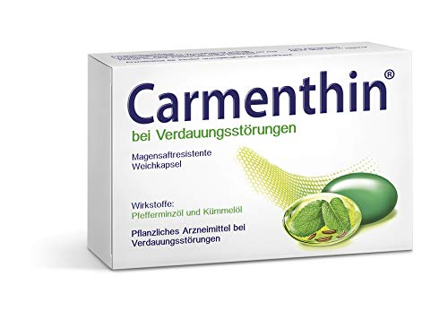 Carmenthin bei Verdauungsstörungen – Pflanzliches Arzneimittel mit Pfefferminzöl & Kümmelöl – 42 Weichkapseln