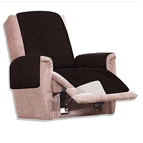 Funda Cubre sofá Reversible - 1 Plaza - Funda para Sillón Relax - Protector sofá Acolchado para Mascotas y Manchas - Reversible Marrón y Blanco - Funda pelos Mascota sillón o sofá.