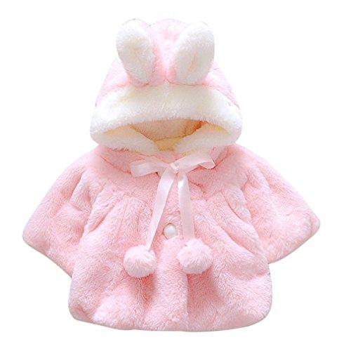 2017 jesienno-zimowa koreańska wersja niemowlę dziewczynki futro zagęszczony ciepły płaszcz płaszcz kurtka śliczne grube ubrania z kapeluszem różowy 1 rok, 80 cm wysokości