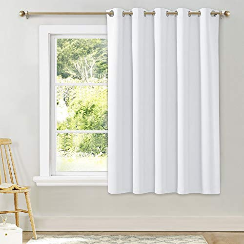 NICETOWN Window Curtain for Bedroom - (Pure White Color) 70 inches Width x 63 inches Length, 1 Panel, Window Treatment Grommet Kitchen Drape for Doors