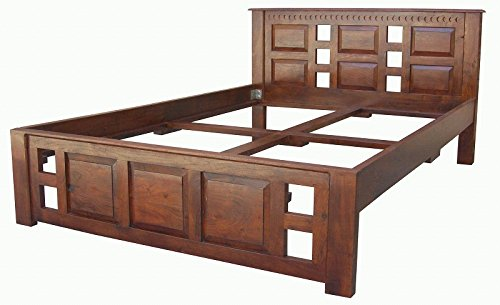 MASSIVMOEBEL24.DE Koloniales Bett 200x200 Akazie Holz massiv Oxford Classic #254