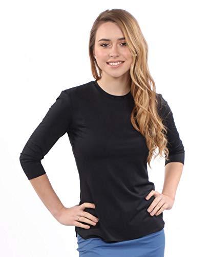 Kosher Casual Women's Modest Athletic Swim & Running/Exercise 3/4 Sleeve T-Shirt Medium Black