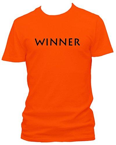 Winner gewinner Gewinnspiel Sieger Fun Spruch Sprüche T-Shirt, Größe:L;Farbe:orange