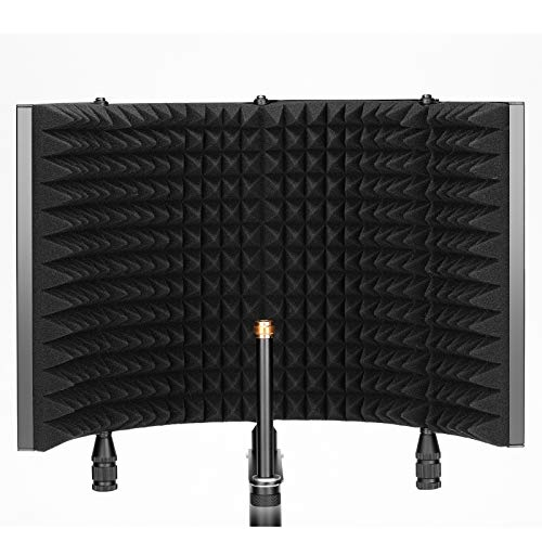 Neewer Studio Recording Microphone Isolation Shield, Pro 4-Panel Mic Shield with Sound Absorbing Foam and Vented Metal Plate for Filter Vocal, Compatible with Blue Yeti and Other Condenser Microphones