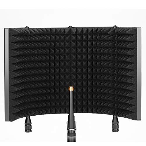 Neewer Professionale Schermo Pannello d'Isolamento per Microfono, Schermo a 4 Sezioni con Frontale in Schiuma Assorbente a Densità Alta & Piastra Posteriore in Metallo Ventilato, per Blue Yeti ecc.