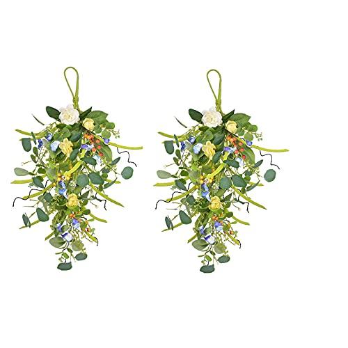 HUIKJI 2 piezas de 23.6 pulgadas de flores artificiales para colgar en la pared, flores de lágrima y hojas de eucalipto para puerta delantera, jardín, hogar, decoración de Pascua
