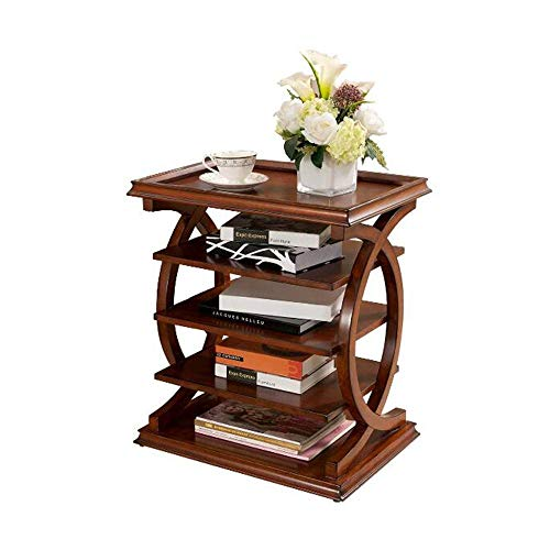 Modern Wedge End Table, American Sofa side Table Solid Wood Multi-Level Living Room side Cabinet Lockers Espresso, a