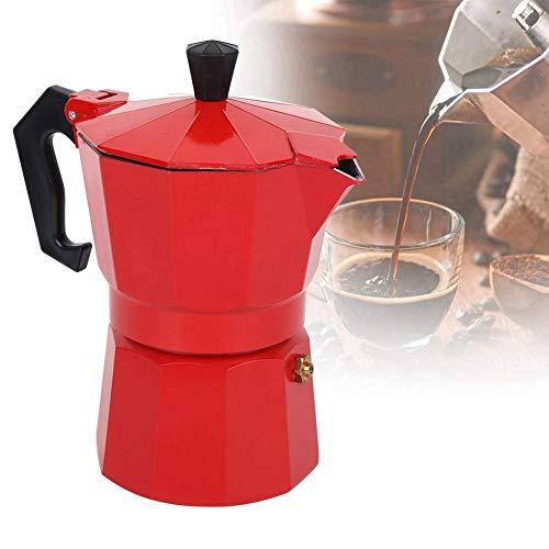 Rapid Stove Top Coffee Brewer, 300ML 6-Cup Kapacitet Aluminium Kaffemaskin Moka Pot Tillbehör för hemmabruk Stovetop Espresso Maker Moka Pot för mycket smakrika stark espresso (röd)