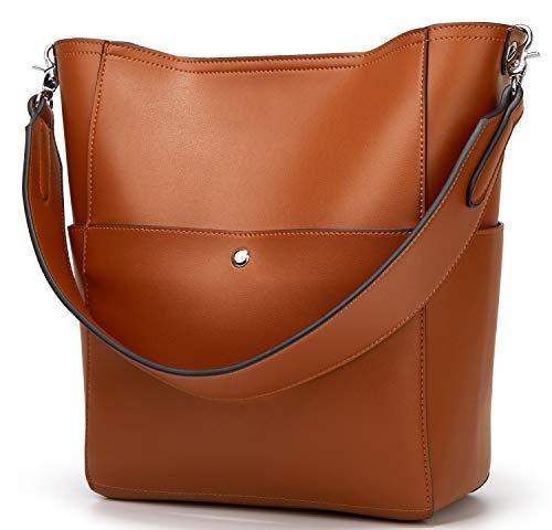 Molodo Women's Satchel Hobo Top Handle Tote Shoulder Purse Soft Leather Crossbody Designer Handbag Big Capacity Bucket Bags (BBrown)