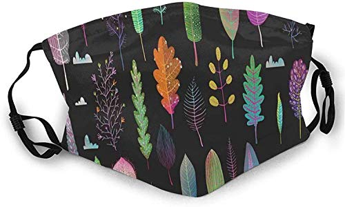 Forest Theme As Trees Ecosystem In Different Seasons Colorful Graphic Illustration Reusable Face shiled Balaclava Washable Outdoor Nose Mouth Cover for Men and Women