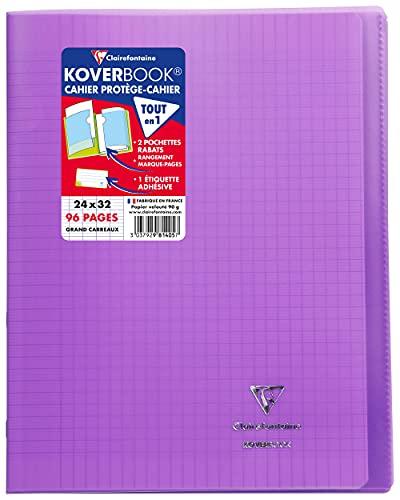Clairefontaine 981405C Un Cahier Agrafé Koverbook Violet - 24x32 cm 96 Pages Grands Carreaux Papier Clairefontaine Blanc 90 g - Couverture Polypro