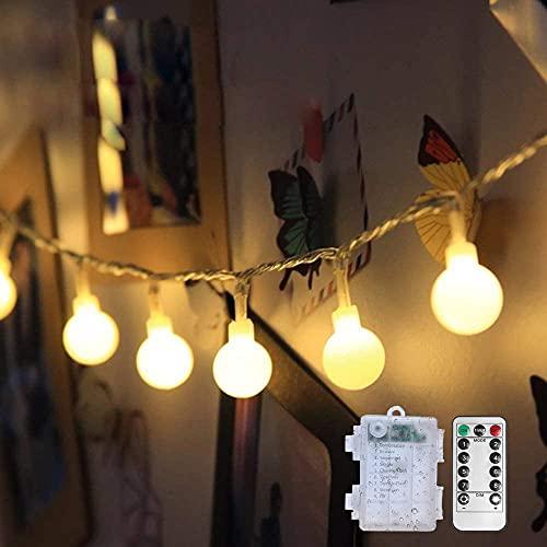 Globe Lichterkette Batterie 6M 40LEDs Kugel Lichterkette Silberdraht Außen/Innen für Schlafzimmer Gläser Camping Hochzeitsfeier Festival Baumschmuck (Warmweiß)