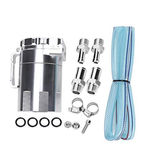 EBTOOLS Tanque colector de aceite motor de aluminio Tanque colector de aceite Respirador Lata Depósito Modificación Accesorios para la modificación del automóvil(Plata)