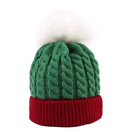 ZZMUK - Gorras de Navidad de punto para invierno con diseño de bola de pelo de Navidad