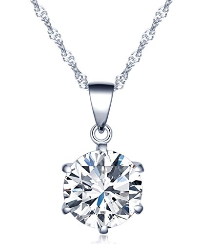 Unendlich U Fashion Damen Halskette 925 Sterling Silber sechs Klaue Zirkonia Anhänger Kette mit Anhänger, Silber