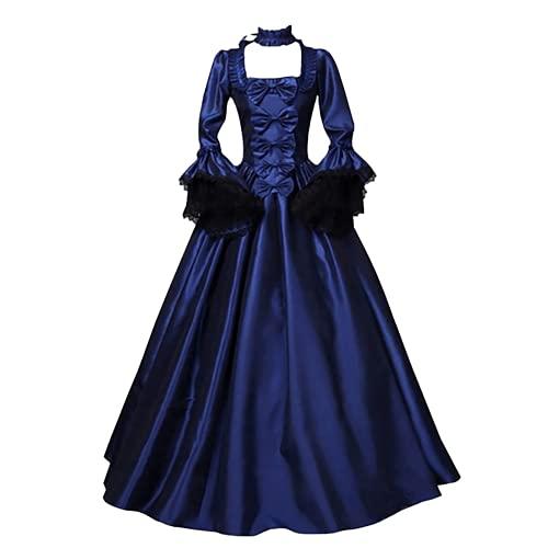 Bcshiye Vestido para mujer, estilo medieval, estilo gótico, con lazo, retro, para Halloween, cosplay, vestido largo, Azul marino/flor y brillo, M