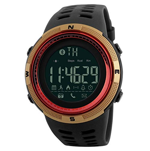 Reloj digital de los hombres, reloj elegante con pantalla LED de movimiento, alarma, cronómetro, Luminoso, Recordatorio de llamada entrante, Movimiento podómetro, detección de movimiento, Shoot remoto