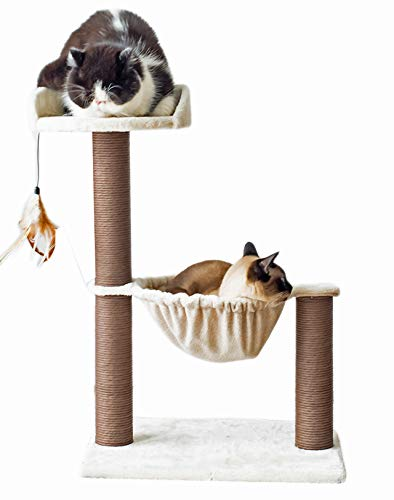 Catry, Cat Tree Hammock Bed with Natural Paper Rope Scratching Posts and Teasing Feather for Kitten (Version 1)