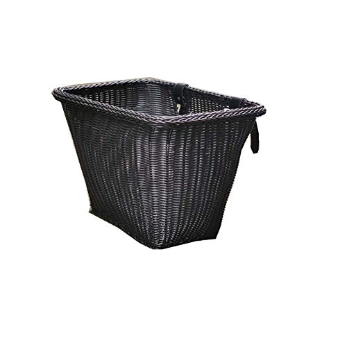 N \ A Bicycle Woven Basket, Hand Woven Wicker Bike Basket Large Waterproof Bicycle Front Handlebar Basket Bicycle Decorative Basket Bicycle Accessory