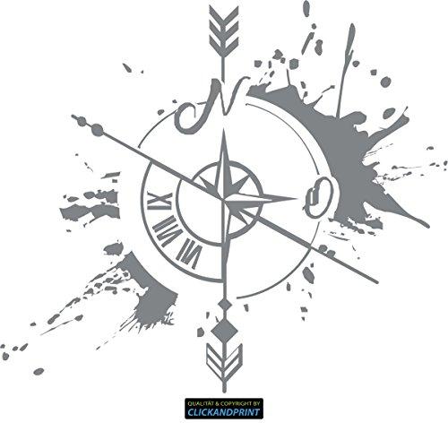CLICKANDPRINT Aufkleber » Weg und Zeit, 30x26,3cm, Silbergrau Metallic • Dekoaufkleber/Autoaufkleber/Sticker/Decal/Vinyl