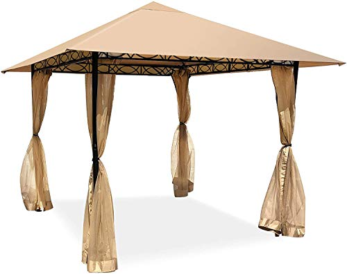 Saana Priti Gazebo 10x10 Gazebos for Patio, 3-Section Beam Gazebo Tent with Curtains, 3 Layers Waterproof Canopy for Outdoor with Mosquito Netting, Sunshade Anti-UV for Garden Party BBQ and Wedding