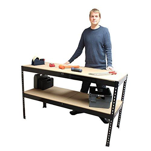 Heavy Duty Metal Garage Work Bench Station with 100 Kg Weight Capacity (Depth: 60cm, Height: 90cm) (Black, 90cm Bench)