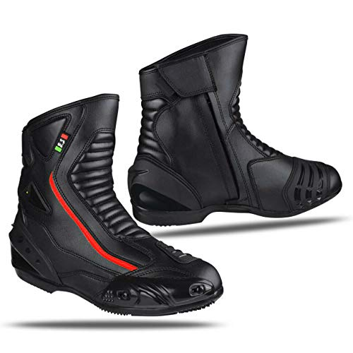BIESSE - Botas de piel para moto, impermeables, transpirables, para moto de carretera (negro/rojo, 47)