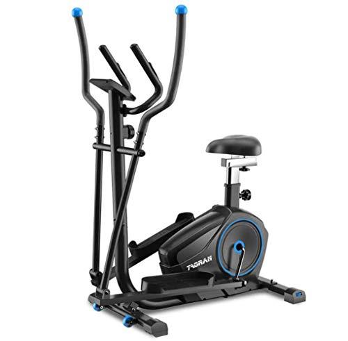 JXH 2-en-1-Máquina con elíptica de la Bicicleta estática-Fitness Cardio Pérdida de Peso Entrenamiento Asiento + Ritmo cardíaco del Pulso Sensores Bicicleta elíptica - Pequeño, Robusto y Compacto
