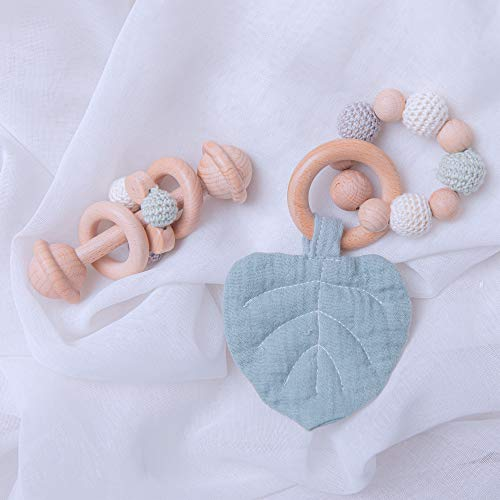 Set of 2 Baby Nursing Accessories Organic Wooden Teething Ring Soft Leaf Pendant Bracelet BPA Free Handmade Baby Grasping Toys Crochet Beads Grasping Toddler Teething Toy for Boys and Girls
