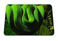 26cmx21cm マウスパッド (緑のヘビの枝は爬虫類) パターンカスタムの マウスパッド