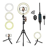 10.2' LED Selfie Ring Light with Tripod Stand & Phone Holder for Live Streaming & YouTube Video, Dimmable Makeup Ring Light for Photography, Shooting with 10 Brightness Level & 3 Light Modes