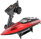 JSY 2,4 GHz Fernbedienung Boot Vier-Kanal-High-Speed-Schiff Wasserdicht Yacht Simulation Speedboat Modell Pool Wassersport Spielzeug Rennboot Ferngesteuertes Spielzeug (Color : Red)