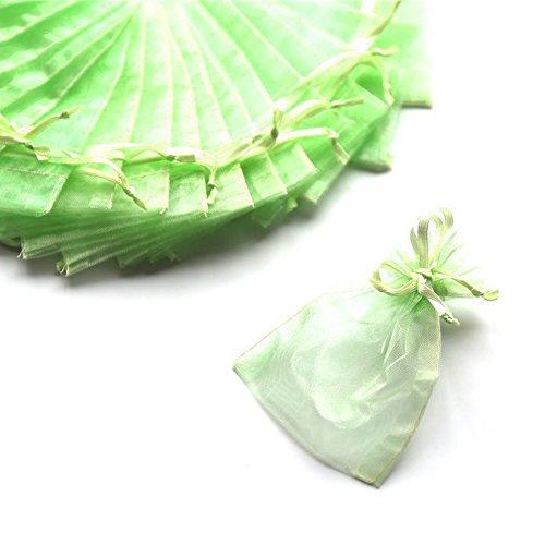 C.X.Y. 100 Sacchetti Organza 7 * 9cm Confetti Bomboniera Regalo (Verde Lime)