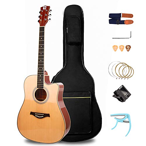 """Vangoa Beginner Acoustic Guitar Bundle 41"""" Full size Spruce Top Cutaway Acoustic Guitar with Truss Rod Allen Key and Gig Bag, Glossy Natural"""
