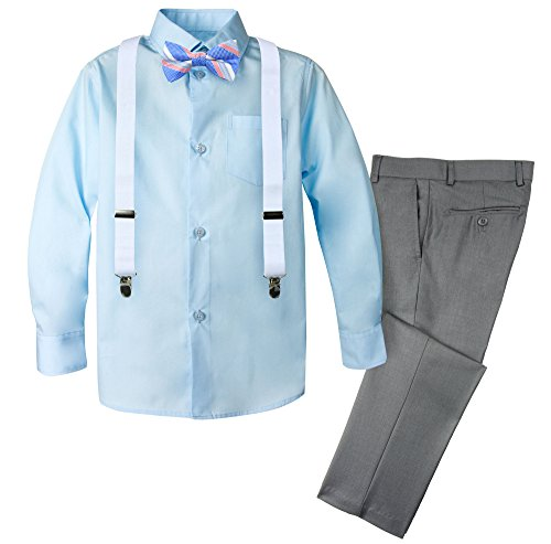 Spring Notion Boys' 4-Piece Patterned Dress up Pants Set 12 Grey/Cool Blue
