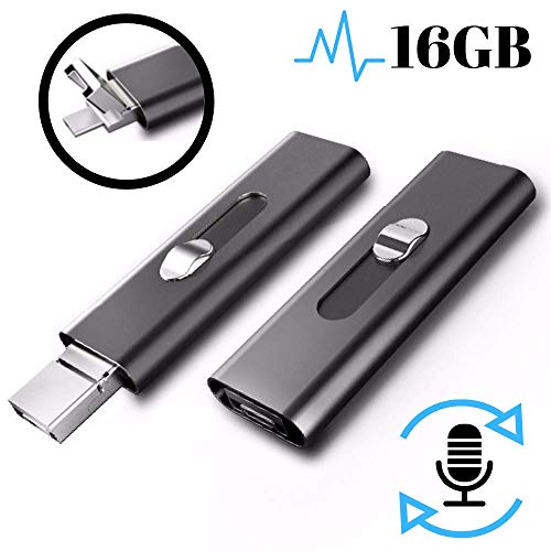 Digital Voice Activated Recorder - USB Flash Drive | 16GB - 196 Hours Capacity | Long-Lasting 26 Hours Battery | Date & Time Stamp | Rechargeable Audio Recording Device | Crystal Clear Sound Recorders