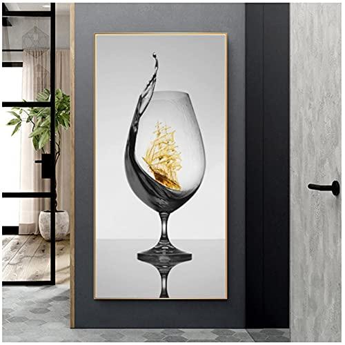 Obra de Arte en Lienzo 0x150cm 1Pieces SIN Marco Copa de Vino romántica Moderna con velero Lienzo Abstracto Arte Cuadro de Pared Póster para galería Comedor Decoración del hogar