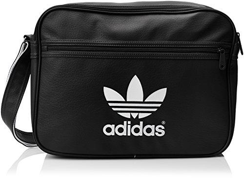 Adidas AJ8203 - Borsa a tracolla Airliner, colore: nero/bianco, 10 x 38 x 28 cm, 10 litri