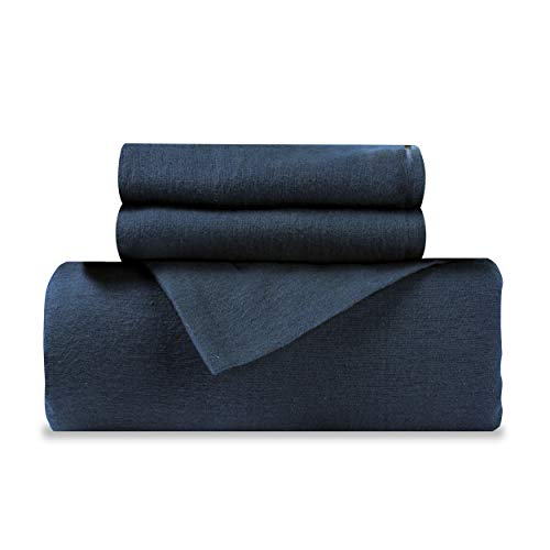 Soft and Light Weight 100% Flannel Duvet Cover Set, 4-Pieces, King, Navy Blue