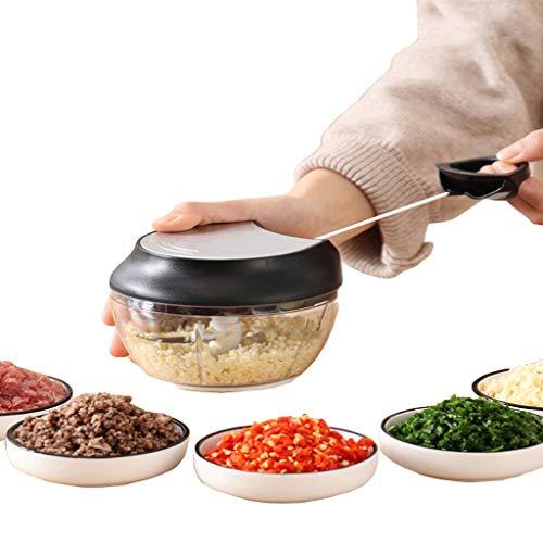 XOMGNEAZ Manuelle Nahrungsmittelzerhacker Zugschnur und Mixer mit Klingen aus rostfreiem Stahl für Gemüse, Zwiebeln, Kräuter und Nüsse, 5 Second Chopper,White-OneSize