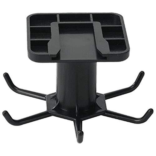 Under Cabinet Utensil Holder,Wall-mounted Utensils Hanger 360 Degree Adjustable Rotating Hooks Kitchen Rail Rack with 6 Removable Hooks Black