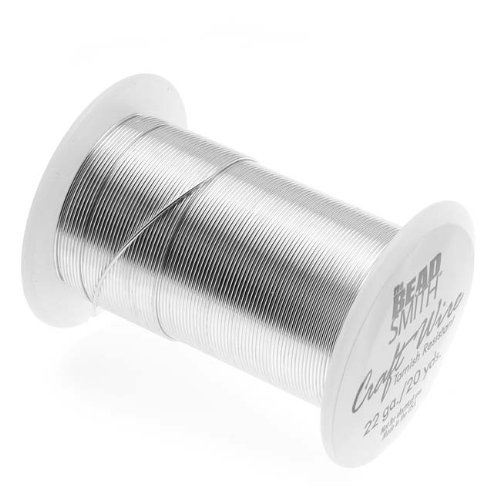 Beadsmith 22 Gauge Tarnish Resistant Copper Wire, 20 Yard/18.2m, Silver