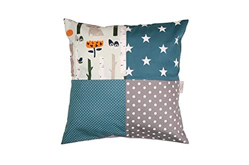 Funda patchwork para cojín de ULLENBOOM ® con bosque, verde, azul (funda para cojín de 40x40 cm; 100% algodón; ideal como cojín decorativo para la habitación de los niños)