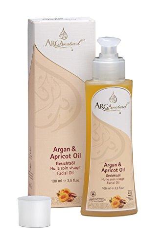Huile d'argan bio pour le visage avec 40 % d'huile d'argan bio et 60 % huile d'abricot bio – régénérante, anti-âge, 100 ml – Cosmétique naturel – Végétalien