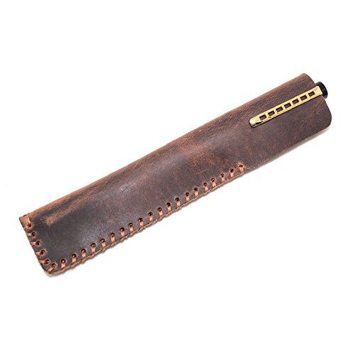Boshiho Retro-Federmäppchen aus Leder, für Füllfederhalter, handgefertigt, Crazy Horse, Vintage-Stil, Braun