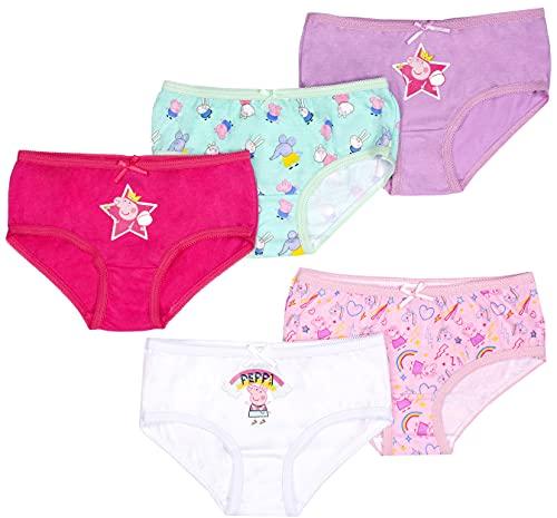 Peppa Pig - Mädchen Schlüpfer - Weicher Baumwollslip Mädchen Hosen - 5er Pack mit 5 verschiedenen Designs - Pink - Alter 2-3