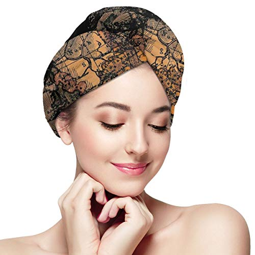 Anatomy Human Heart World Map Dry Hair Cap Microfibre Hair Towel Wraps Ultra Absorbent Quick Dry Twist Turban with Button for Drying Curly Long Thick