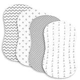 Wickelauflagen-Set | Wiege Stubenwagen/Wickeltisch-Abdeckungen für Jungen und Mädchen | super weiche 100% Jersey-Strick-Baumwolle | grau und weiß | 150 g/m² | 3er-Pack (Stubenwagen)