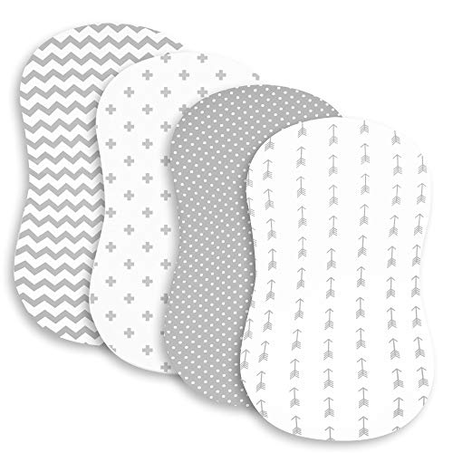 Bassinet Bed Sheets – Premium Bassinet Fitted Sheet Set - 4 Pack – 100% Jersey Knit Cotton Cradle Sheets – Bassinet Bedding for Standard Size Oval or Halo Bassinet Pads – Bassinet Sheet for Boy & Girl